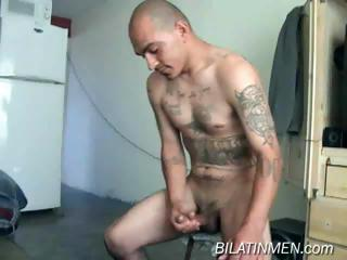 This hot latino guy shows his hot host and big verga and then strokes it un