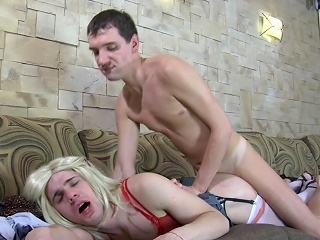 Pretty palmy sissy puts on white gartered stockings vanguard getting...