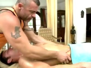 Open chap massaged hard by conniving gay bear
