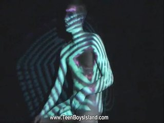 Twink starkers body is the canvas be incumbent on a light show
