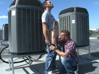 This young down in the mouth boy enjoys his first gay blowjob at the roof.