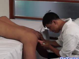 Asian doctor goes down on an tribal twink