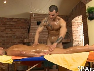 An anal sex rub down with muscly dudes