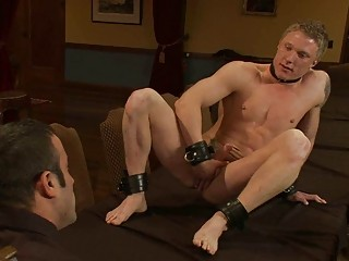 Muscled gay hunnk gets tied with an increment of humiliated greatest extent masturbating