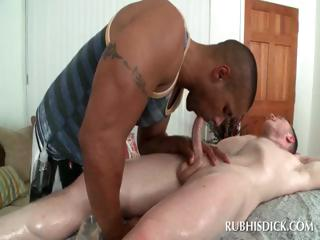 Interracial blowjob with gay dudes