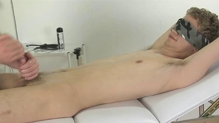 Blindfolded gay boy gets his dick wanked good