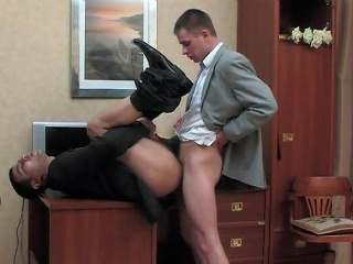 Kinky co-worker increased by his gay king having cock-break after fixed working...