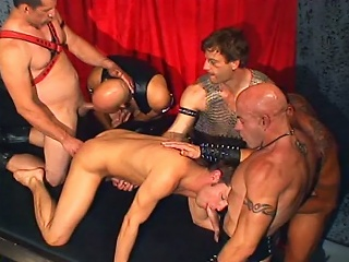 Leather daddies party banging brad benton...