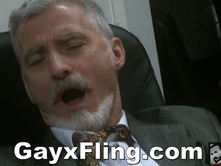 Gay Elderly Guy Masturbating In the air Office