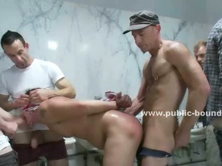 Filial gay twink gets his pain in the neck licked in a public Babytalk do number two and is forced to suck dicks