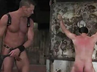 Gay boy respecting bondage is whipped added to beaten