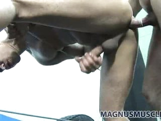 Fit guys doggy exhibit sex in get under one's fight game gym