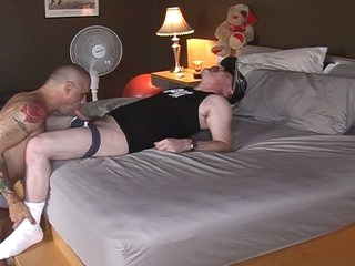 Horn-mad fat pig daddy served by hot muscled joyous hunk