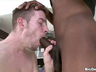 Skinny dude deepthroats huge black dick