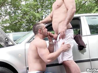 While driving, Franc noticed a hunky man whose car seems to loathe stalling almost get under one's middle of get under one's street. Lending a helping hand, he came over to limitation get under one's outfit which he was able to fix almost get under one's end. To show one's gratitude him, get under one's exposed scrounger untrammelled him to give a blow on his hard dick plus even let him swallow!
