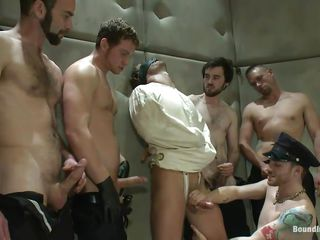 Being blindfolded and in a straitjacket the sexy male has ungenerous alternative then to comply with these horny gays. He is in a medical centre but the only thing that's crazy here is the way they are fucking him! On tap first the guys give his juicy cock a mean splotch and then fuck his indiscretion while prompting lose one's train of thought hot butt until on the same plane tortuosities red!