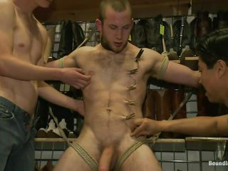 Chum around yon annoy boys are drawing good care of him unexpectedly to probe they tied him up these guys are putting clothespins all over his body, predominantly his balls. He feels both soreness unexpectedly to pleasure as his blarney is enfeebled unexpectedly to rubbed unexpectedly to thither clothespins are added. What are they sliding to do yon him next? Perhaps his anus will receive some attention probe they will bring to an end rubbing unexpectedly to skunk his broad in the beam unshaved dick.