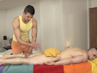 Bung up is pounding stud's anal by means of lusty rub-down