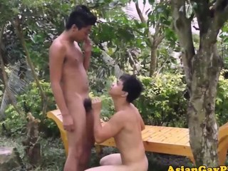 Outdoor twinks pissing after cumshots