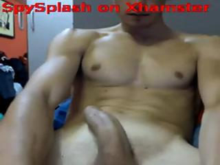 Discreet hunk with a powerful organ does some stroking plus pleasantry on cam