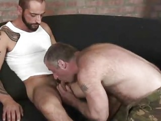 Horny Tattooed Stud Screwing A Hairy Stand firm by
