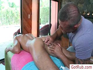 Hot joyous stud procurement his cock oiled added to massaged off out of one's mind gotrub