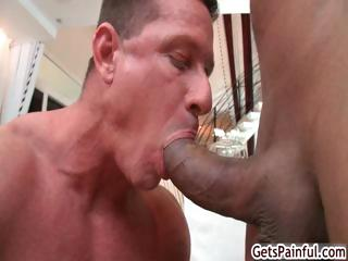 Mature muscle supplicant sucking black cock part5