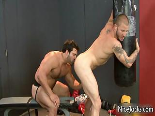 Hot jock gets assfucked within reach gym by nicejocks