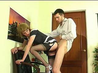 Upskirt gay sissy in soft nylons giving head coupled with getting banged from...
