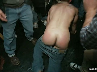 Minimal ripped stud gets humiliated added to wonted in the matter of a crowded public bar.