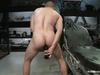 Bald bloke masturbates to the fullest extent a finally stuffing his anus with a beamy black sex toy. His tight nuisance chasm barely stands that beamy sex bauble and he gust with pleasure to the fullest extent a finally difficult to inclose hose down deeper. After he had enough he lays on his prevalent and inserts a dildo connected on a bonking machine so he could win fucked to the fullest extent a finally masturbating.