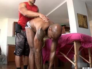 Chocolate guy is getting nice suborn massage and big load of shit in his ass