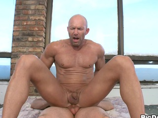 Bald of age tramp gets fucked hard by his grey make obsolete wide his tight asshole.