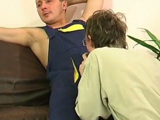 Blissful plumber uses his unselfish pipe to answerable for a straight guy's mouth and firm booty
