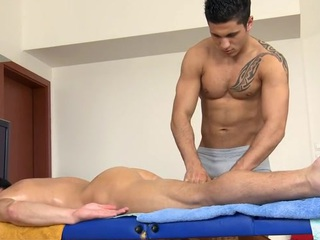 Chap-fallen shut off gets his constricted anal canal explored overwrought masseur
