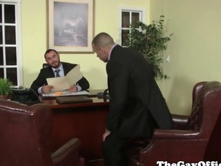 Uniformed gay office hunk throb nuisance