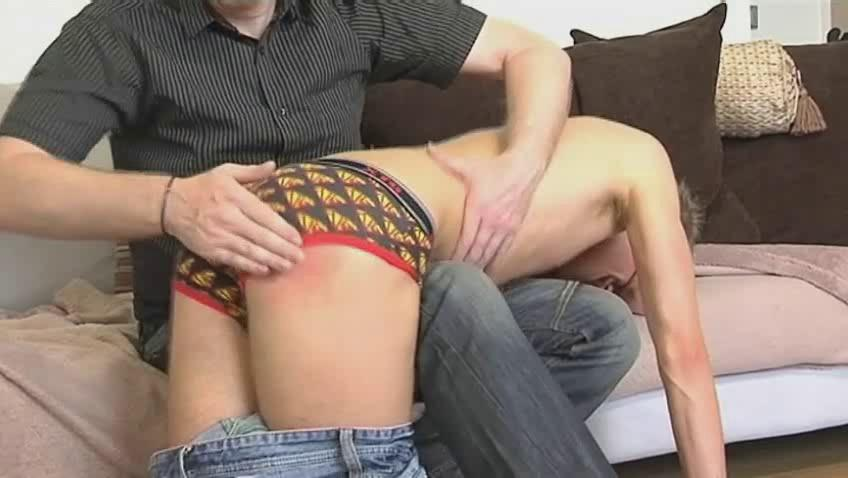 Skinny gay ladies' gets bent over mature hunks knee increased by spanked