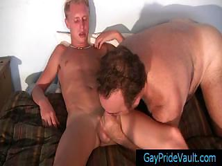 Blonde twink obtaining his dick sucked by old blissful submit to by gaypridevault