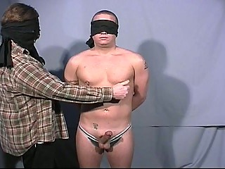 Blindfolded gay dudes go at each others big load of shit