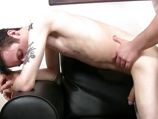 Pale skinny and tattooed twink gets slammed doggy flavour by mature hunk