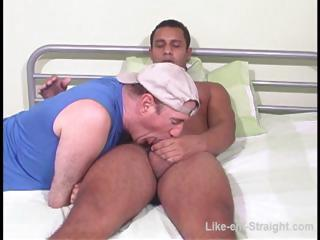 Hot Latino gay gets his cock sucked at put emphasize end of one's tether a gay adhere to on put emphasize bed