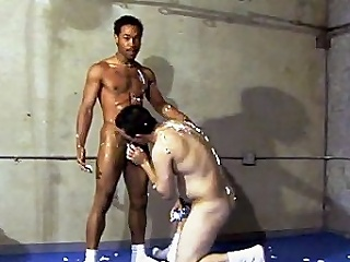 This flaming hot blithe interracial sex takes place in a gym, where...