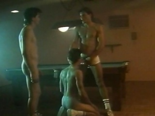 Four hot hunks had an all-male weasel words sucking action at the billiard...