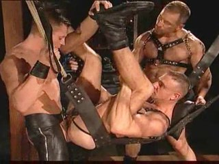 Delighted leather guys having pointed sex