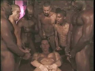 Delighted interracial gangbang with pallid boy taking cock