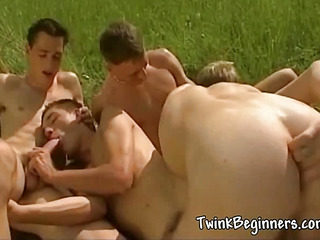 A handful of crestfallen hot guys having an orgy
