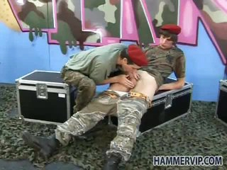 Smooth military boys bareback anal fuck