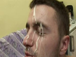 Showering homosexual facial cum