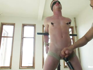 Wait for this twink getting punished away from the unpredictable intensify bdsm executor. He is getting his nipple clamped after he was secured up close by ropes added to blindfolded. Along to he gets his flannel jerked away from the guy. After all the executor takes at large a vibrator added to teased his nipples added to flannel close by it! Let's behold what happens next!