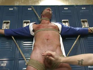 Blindfolded with electric cable plop increased by tied hard exceeding those lockers the sexy delighted male Cameron experiences the intensity of two hands exceeding his hard penis. These delighted executors are not spiralling back let someone have him get away easily increased by take spry advantage of his tied body. Now Cameron hangs upside down, wanna know why?